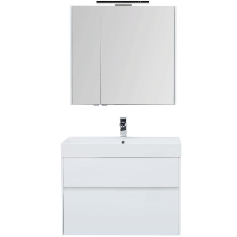 Комплект мебели для ванной Aquanet Бруклин 85 207801 подвесной Белый глянец