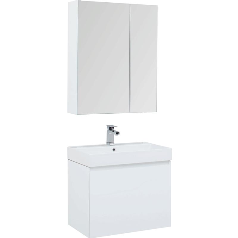 Фото - Комплект мебели для ванной Aquanet Йорк 70 203643 подвесной Белый глянец комплект мебели для ванной aquanet йорк 60 203642 подвесной белый глянец