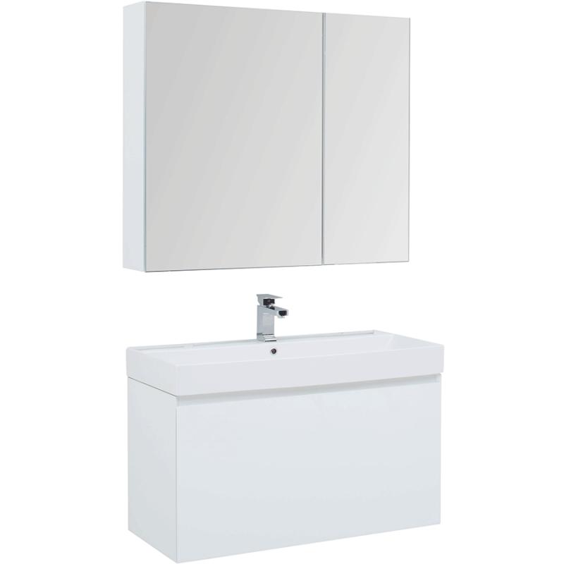Фото - Комплект мебели для ванной Aquanet Йорк 100 203645 подвесной Белый глянец комплект мебели для ванной aquanet йорк 60 203642 подвесной белый глянец