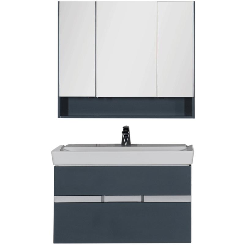 Комплект мебели для ванной Aquanet Виго 100 183666 подвесной Сине-серый