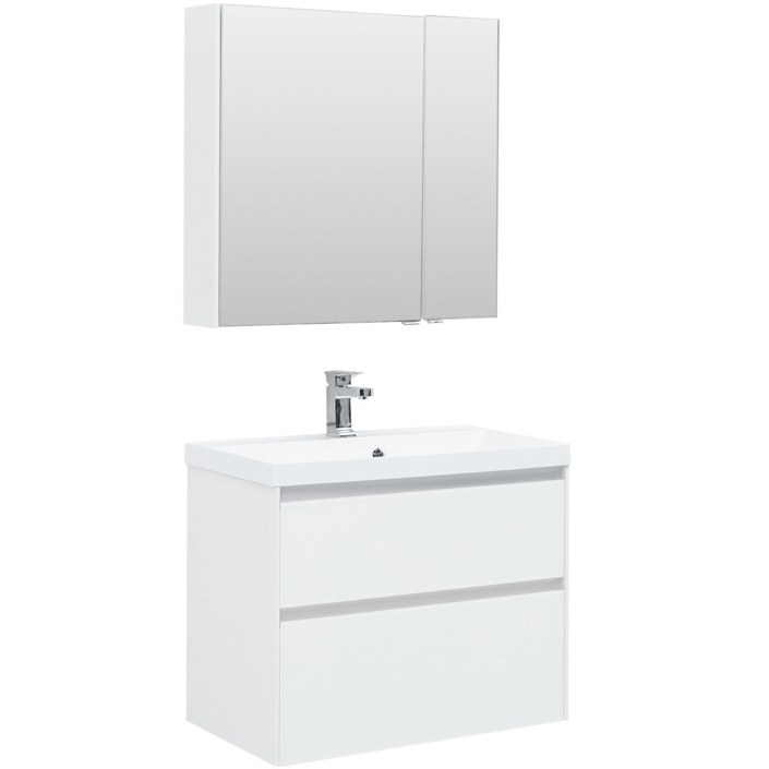 Комплект мебели для ванной Aquanet Гласс 80 240465 подвесной Белый