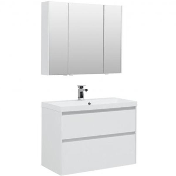 Комплект мебели для ванной Aquanet Гласс 90 240467 подвесной Белый