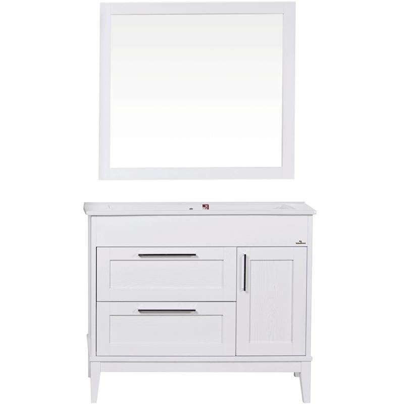 Комплект мебели для ванной ValenHouse Эйвори 105 AVК105Б Белый ручки Хром