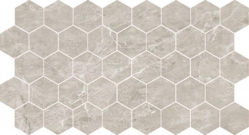 Мозаика Caramelle mosaic Marble Porcelain Nuvola grigio полированная гексагон 26,7х30,8 см