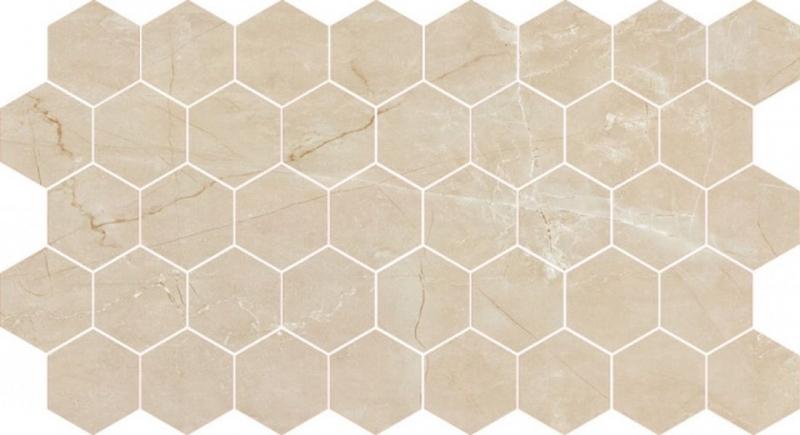 Мозаика Caramelle mosaic Marble Porcelain Nuvola beige полированная гексагон 26,7х30,8 см