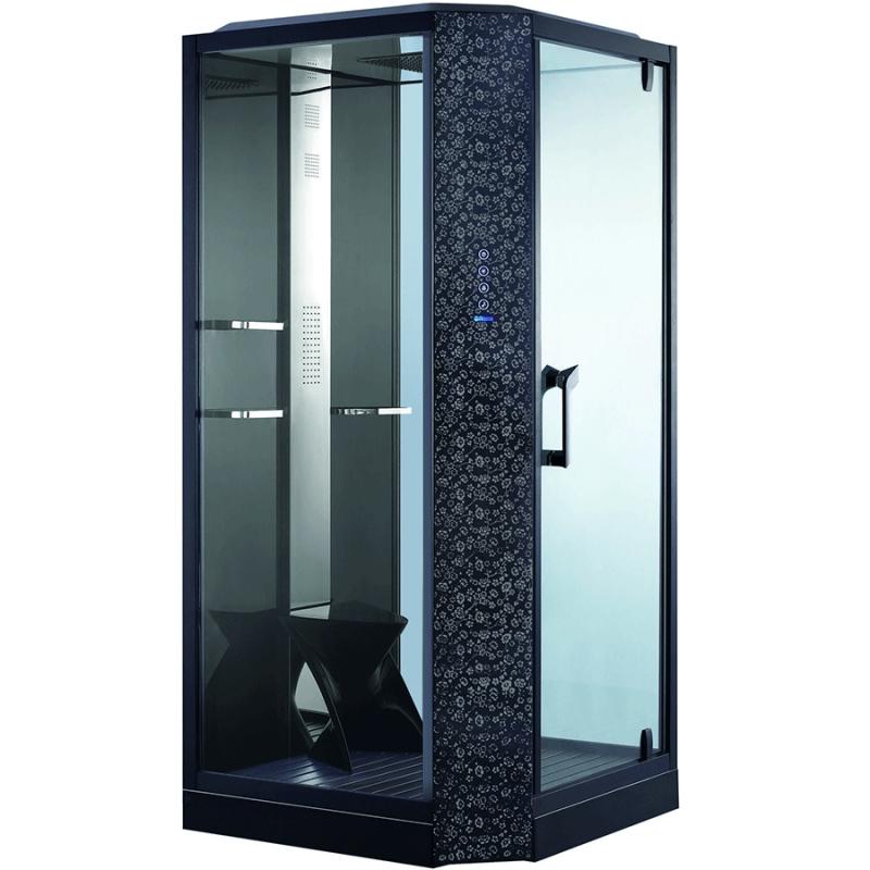 Душевая кабина Orans SR-89101S R black 100x100 с баней профиль Черный задние стенки Черные фото
