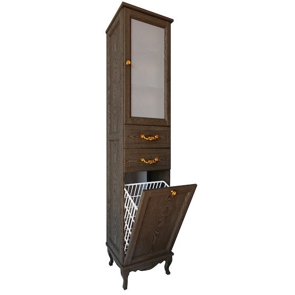 Шкаф пенал ValenHouse Эллина 40 E40_ККRЗ с бельевой корзиной R Кальяри ручки Золото