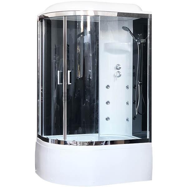 Душевая кабина Royal Bath ВК 120x80 RB8120BK3-BT-CH-R с гидромассажем стекло прозрачное задние стенки Черные душевая кабина royal bath вк 120x80 rb8120bk2 m ch r с гидромассажем стекло матовое задние стенки белые