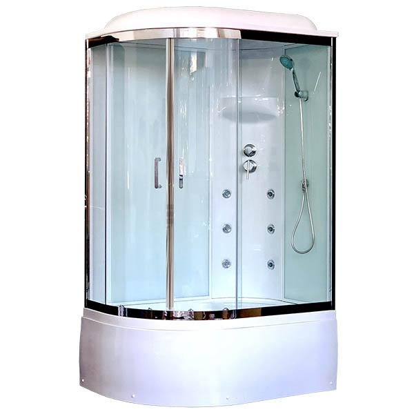 Душевая кабина Royal Bath ВК 120x80 RB8120BK3-WT-CH-R с гидромассажем стекло прозрачное задние стенки Белые фото