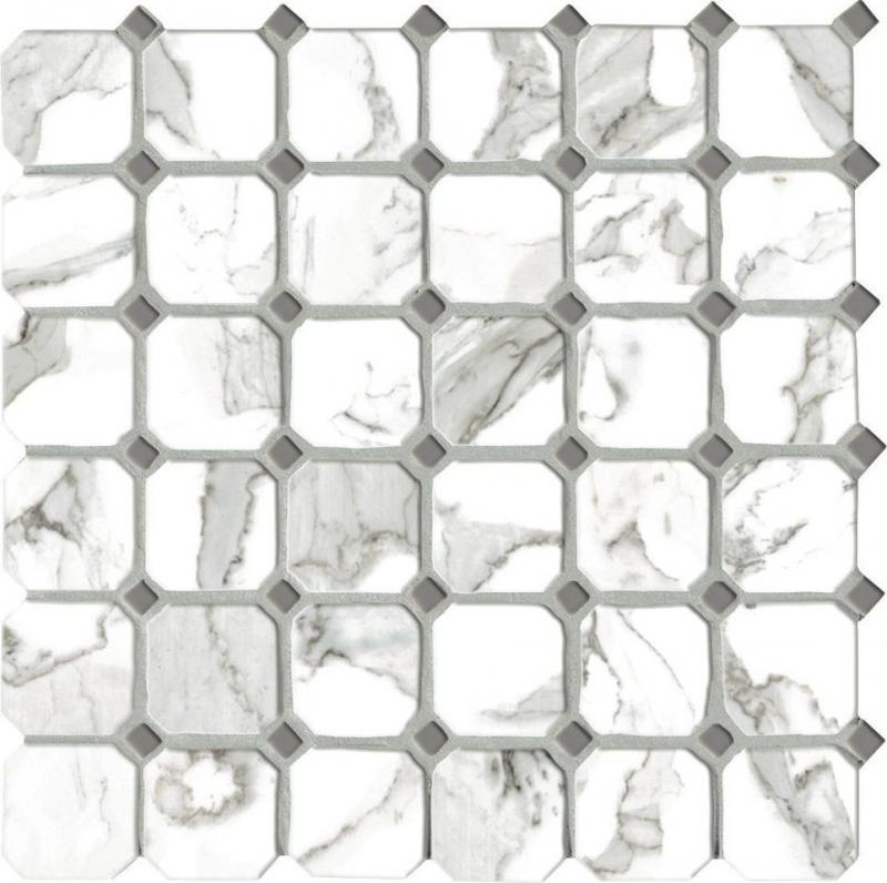 Керамическая мозаика Vallelunga Calacatta Ottagona 30х30 см керамическая плитка vallelunga calacatta lapp rett напольная 30х60 см