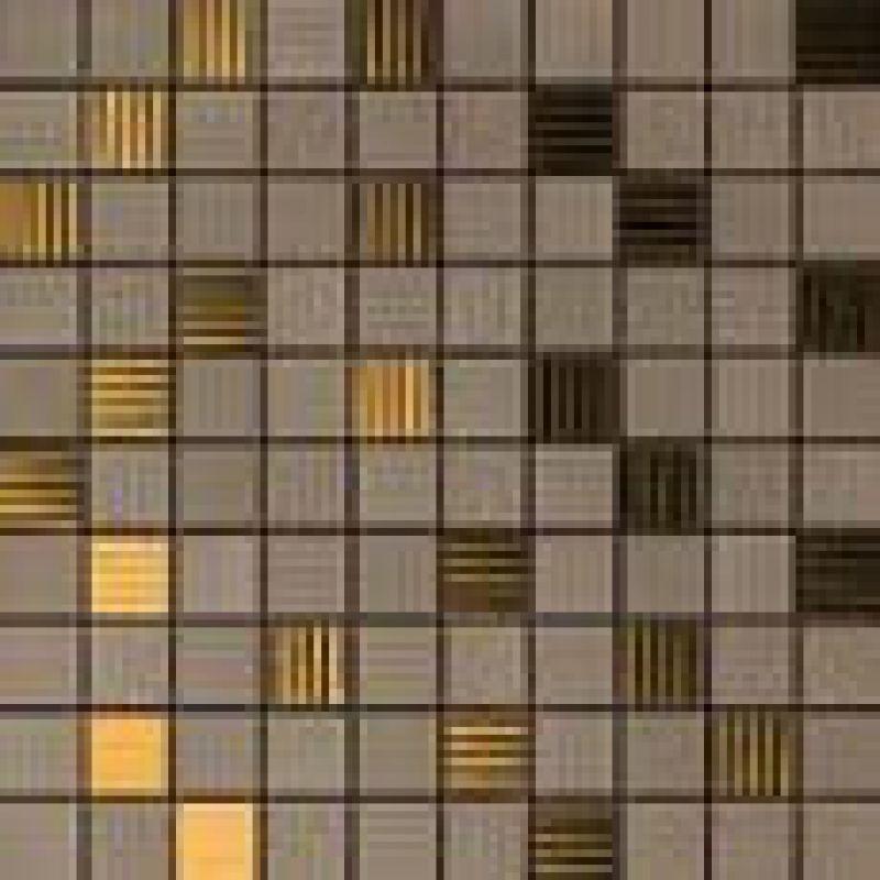 Керамическая мозаика Versace Home Gold Mosaico Riga Marrone/Oro (2,5x2,5) 25x25 см