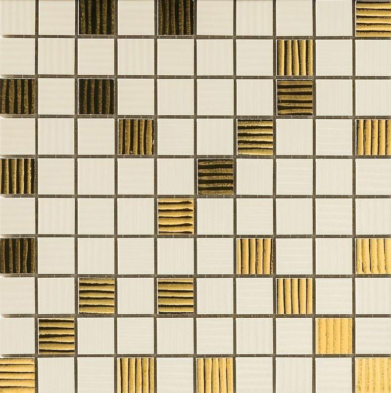 Керамическая мозаика Versace Home Gold Mosaico Riga Crema/Oro (2,5x2,5) 25x25 см