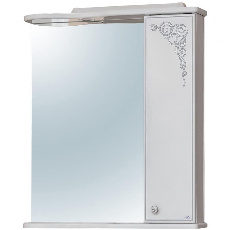 Зеркало со шкафом Cerutti SPA Динара 70 6575 с подсветкой Белое Серебро