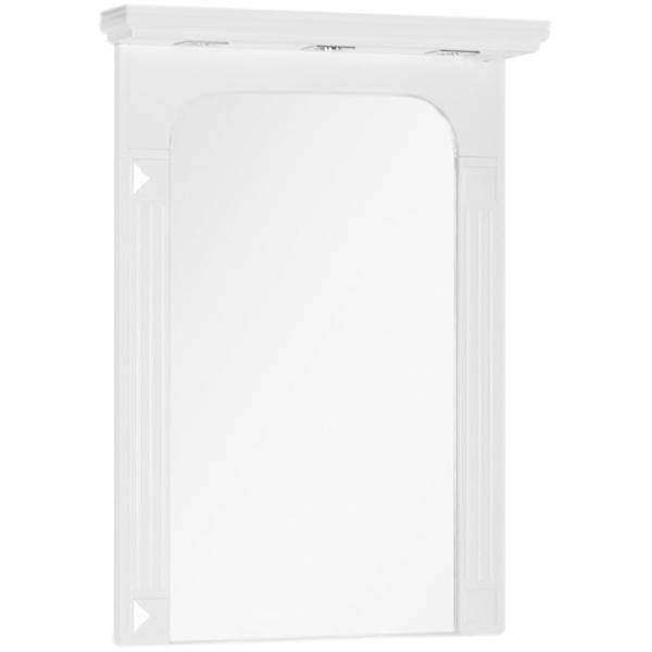 Фредерика 80 с подсветкой БелоеМебель для ванной<br>Подвесное зеркало Aquanet Фредерика 80 00171273 с подсветкой. Арочная форма, изысканный многоступенчатый карниз и пилястры на раме передают вдохновение дизайнеров архитектурой Древней Греции.<br>Конструкция:<br><br>Для использования в ванных комнатах с повышенной влажностью.<br>Покрытие корпуса: белый глянец.<br>Материалы: стекло, МДФ, ЛДСП.<br>Широкое зеркальное полотно.<br>Три встроенных светодиодных светильника.<br><br>В комплекте поставки:<br><br>зеркало.<br><br>