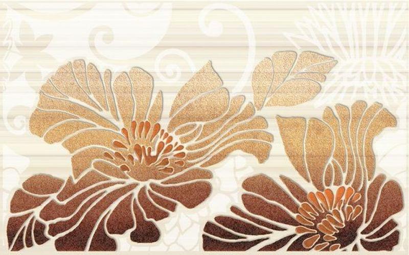 Керамический декор Нефрит Керамика Кензо коричневый 01 25х40 см