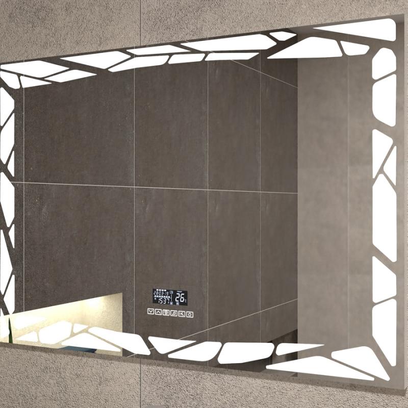 Зеркало Vigo Melissa Media Grey 80 с подогревом с подсветкой с часами и сенсорным выключателем