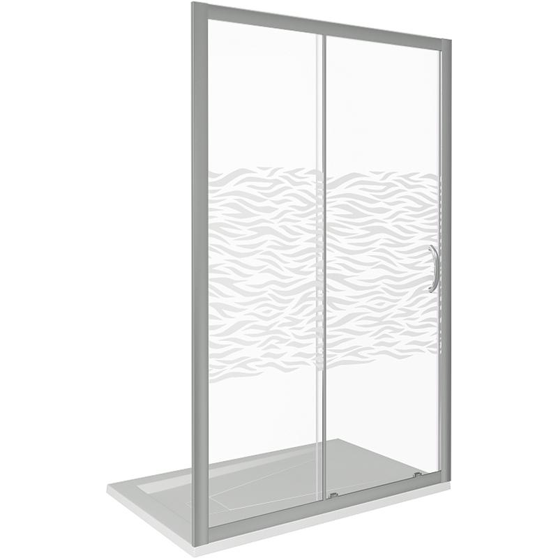Душевая дверь в нишу Good Door Infinity WTW-130-W-CH 130 профиль Хром стекло с рисунком