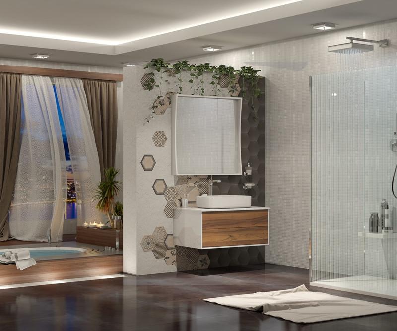 Комплект мебели для ванной Smile Дольче 80 подвесной Белый глянцевый Светлое дерево