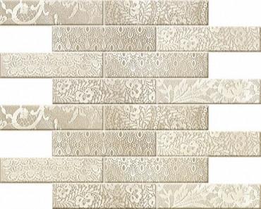 Керамический декор Novogres Aitana Mosaico Blonda Crema Gris 25x60 см цена