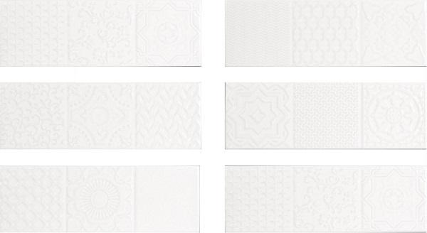 Керамическая плитка Monopole Ceramica Esencia Relieve Blanco Brillo настенная 10x30см
