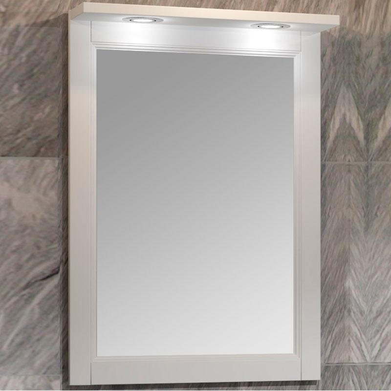 Фото - Зеркало Opadiris Клио 56 00-00000428 с подсветкой Белое матовое зеркало opadiris клио 56 слоновая кость 1013 00 00000429