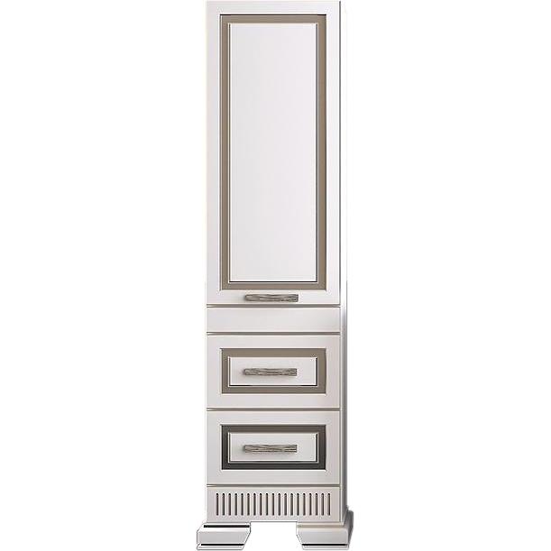 Шкаф пенал Opadiris Оникс 50 L Z0000005505 Белый глянцевый с серебристой патиной фото