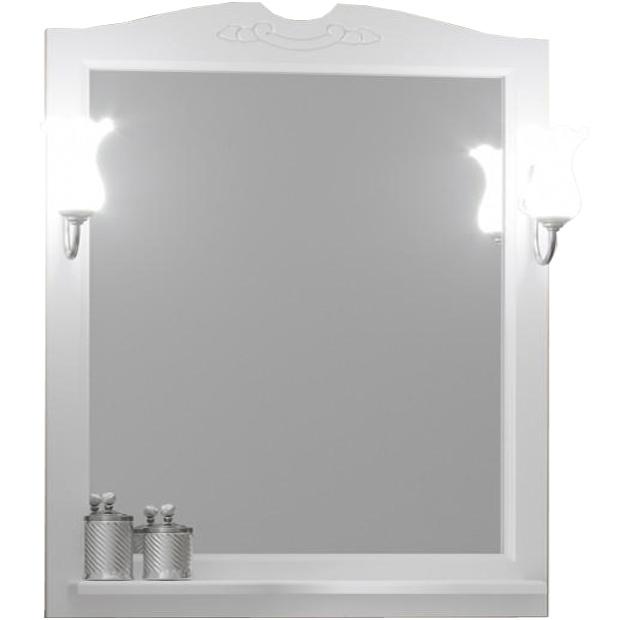 Зеркало Opadiris Тибет 80 Z0000012654 Белое матовое зеркало с полкой opadiris тибет 80 для светильников 00000001041 слоновая кость 1013 z0000006653