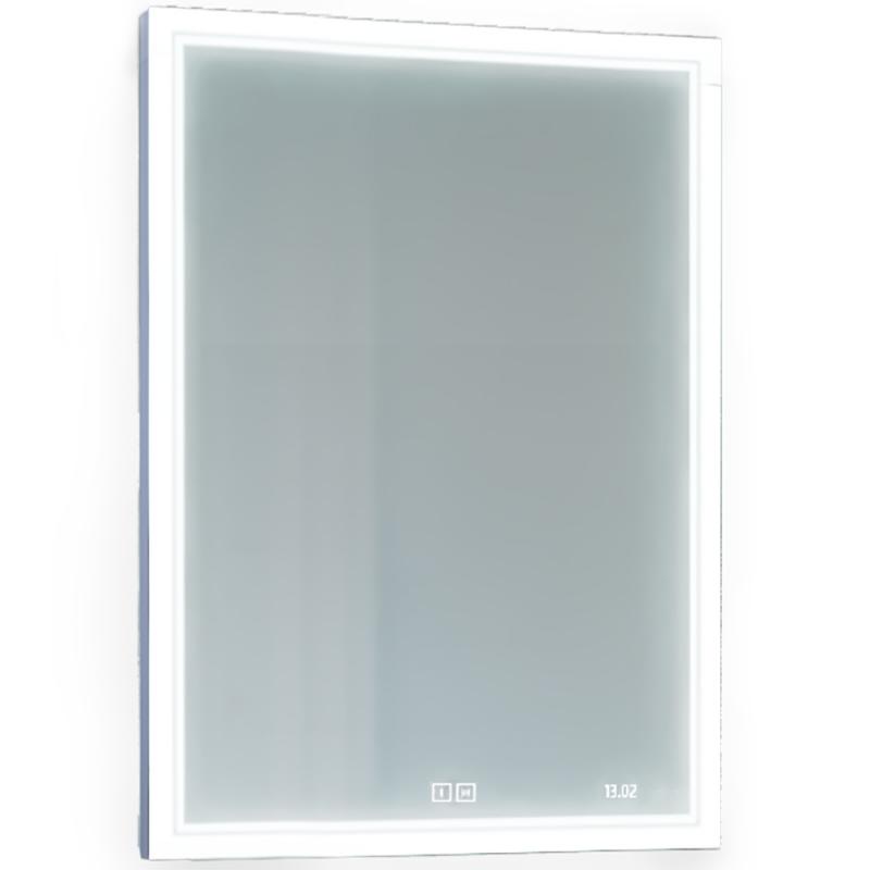 Зеркало Jorno Glass 65 Gla.02.60/W с подсветкой с сенсорным выключателем с часами и обогревом