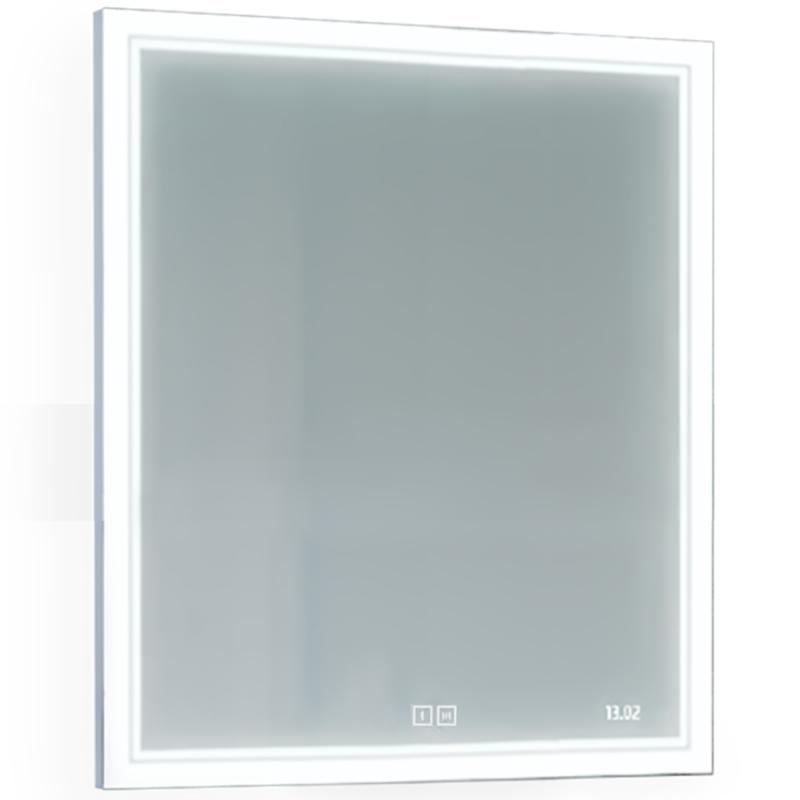 Зеркало Jorno Glass 80 Gla.02.77/W с подсветкой с сенсорным выключателем с часами и обогревом