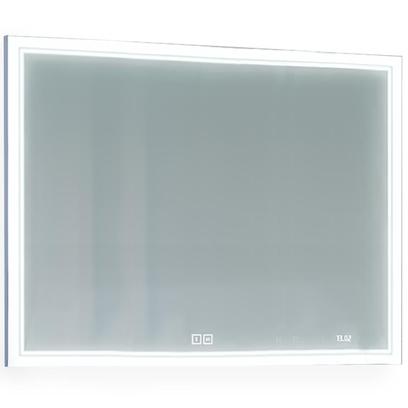 Зеркало Jorno Glass 100 Gla.02.92/W с подсветкой с сенсорным выключателем с часами и обогревом