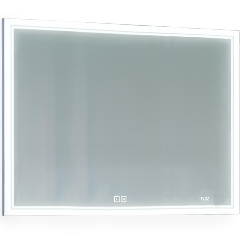 Зеркало Jorno Glass 120 Gla.02.120/W с подсветкой с сенсорным выключателем с часами и обогревом