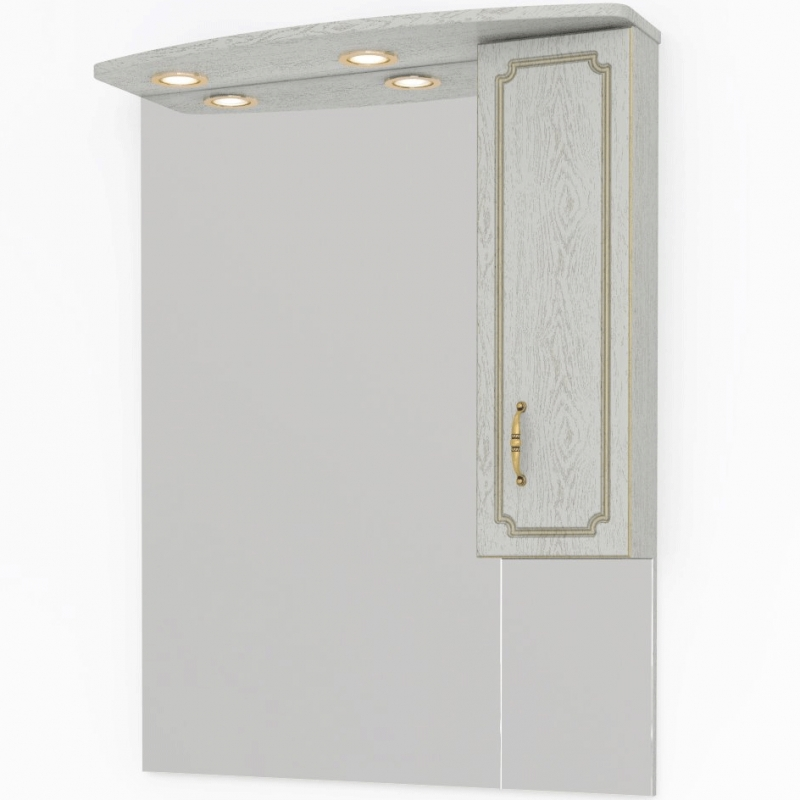 Зеркало со шкафом Какса-А Патина 80 004495 Бежевое с золотом