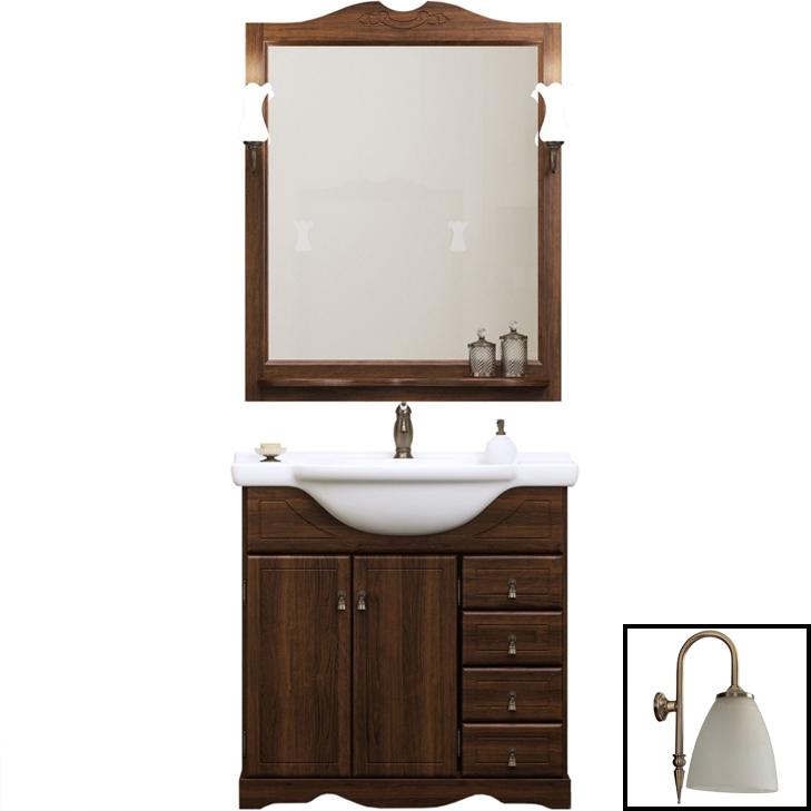 Комплект мебели для ванной Opadiris Клио 70 Орех антикварный со светильником Изабель Бронза