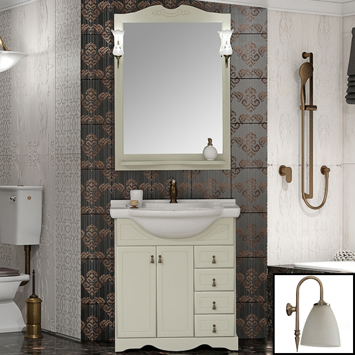 Комплект мебели для ванной Opadiris Клио 70 Слоновая кость со светильником Изабель Бронза зеркало с полкой opadiris тибет 50 для светильников 00000001041 слоновая кость 1013 z0000007087
