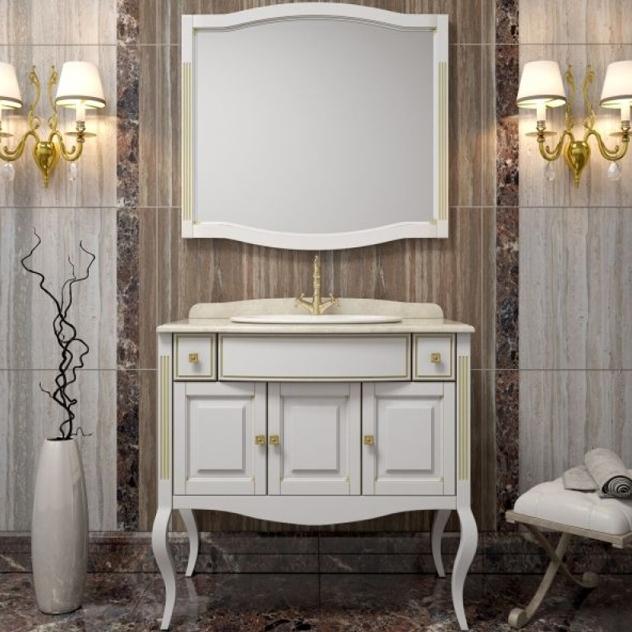 Комплект мебели для ванной Opadiris Лаура 100 под мраморную столешницу Белый матовый с золотой патиной ручки Swarovski Золото