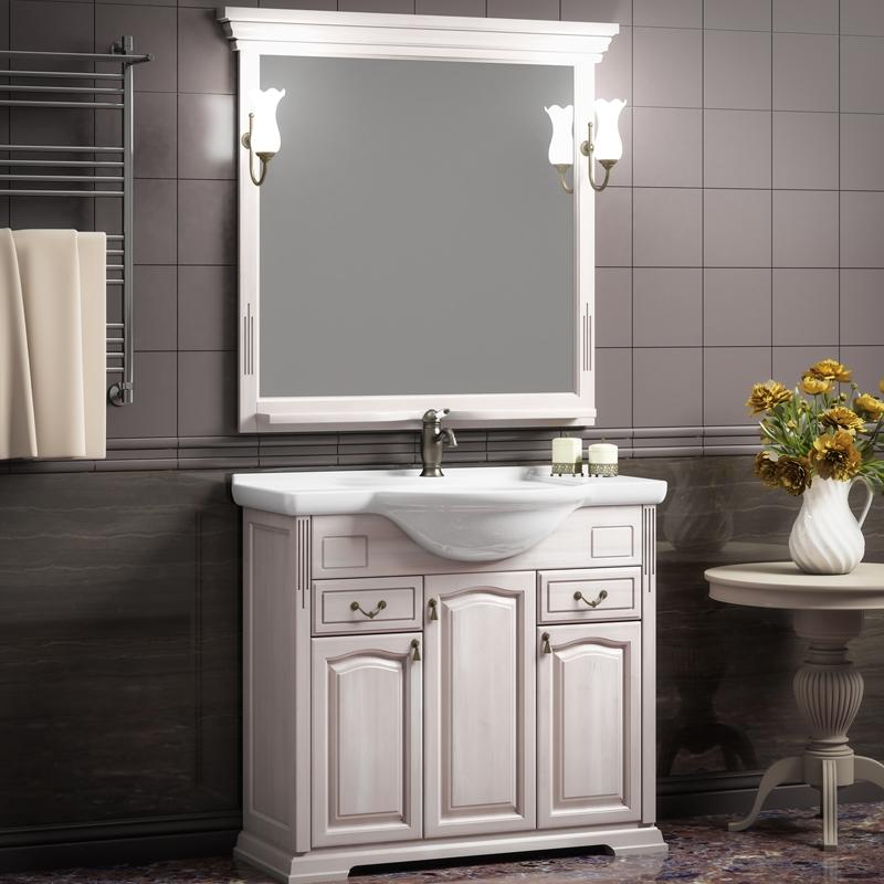 Фото - Комплект мебели для ванной Opadiris Риспекто 95 Беленый бук со светильником Рустика Бронза мебель для ванной opadiris риспекто 105 беленый бук