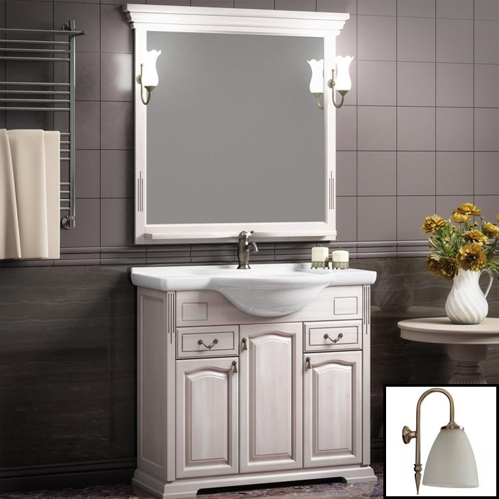 Фото - Комплект мебели для ванной Opadiris Риспекто 95 Беленый бук со светильником Изабель Бронза мебель для ванной opadiris риспекто 105 беленый бук