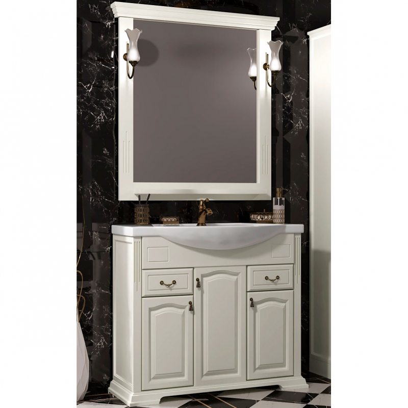 Комплект мебели для ванной Opadiris Риспекто 95 Слоновая кость со светильником Рустика Бронза зеркало с полкой opadiris тибет 50 для светильников 00000001041 слоновая кость 1013 z0000007087