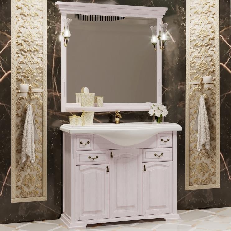 Фото - Комплект мебели для ванной Opadiris Риспекто 105 Беленый бук со светильником Рустика Бронза мебель для ванной opadiris риспекто 105 беленый бук