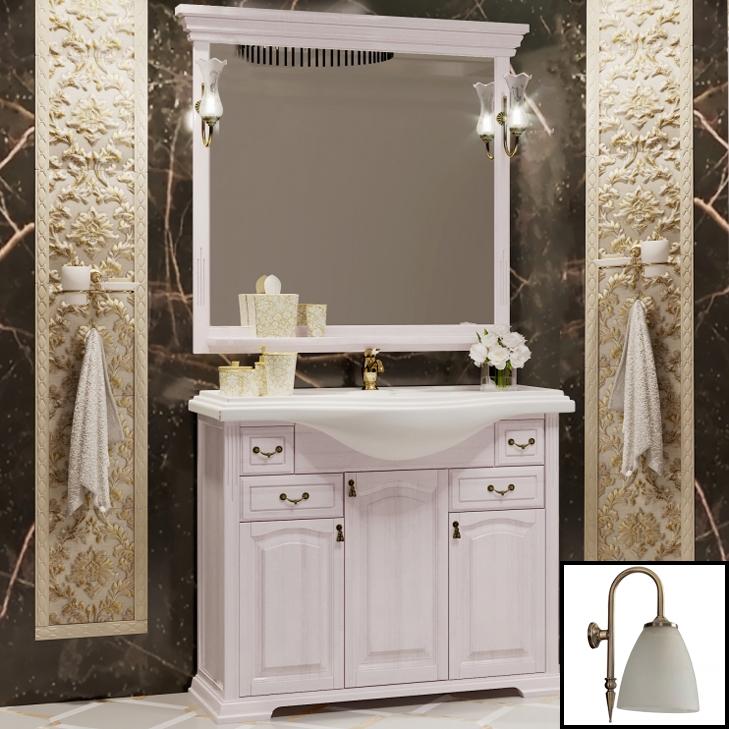 Фото - Комплект мебели для ванной Opadiris Риспекто 105 Беленый бук со светильником Изабель Бронза мебель для ванной opadiris риспекто 105 беленый бук