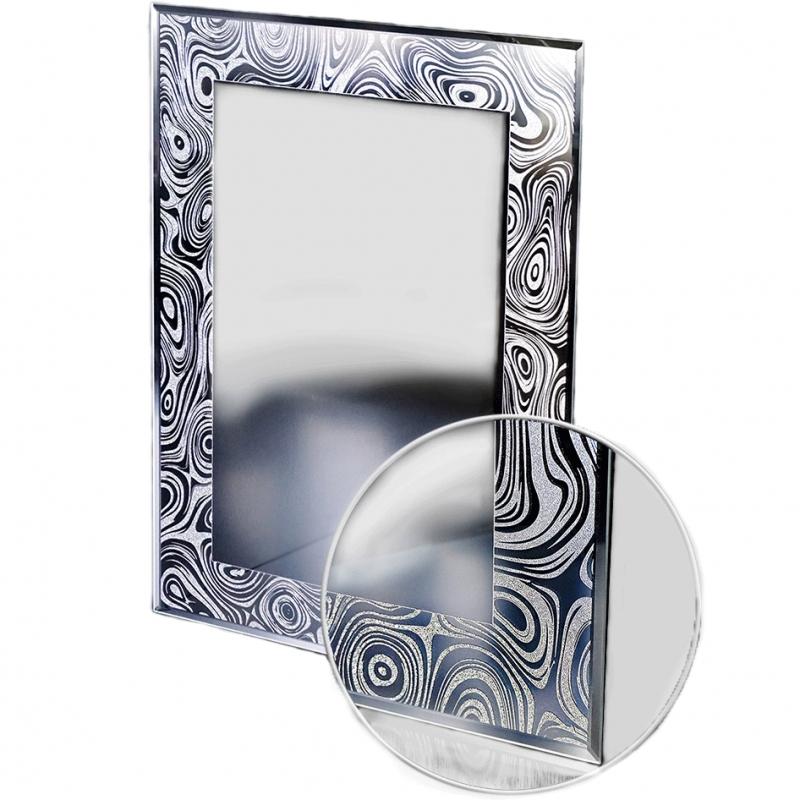 Зеркало Raiber Блюз RSP115 Черное-белое с узором Водяные разводы