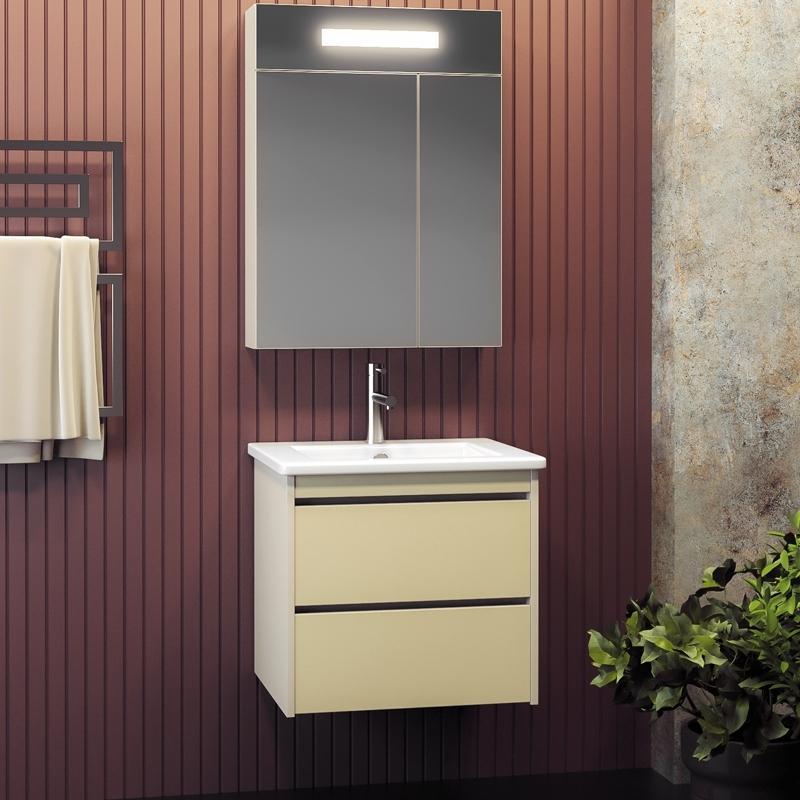 Комплект мебели для ванной Smile Фреш 60 подвесной Бело-бежевый