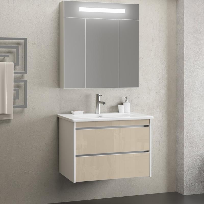 Комплект мебели для ванной Opadiris Фреш 80 подвесной Бело-бежевый фото