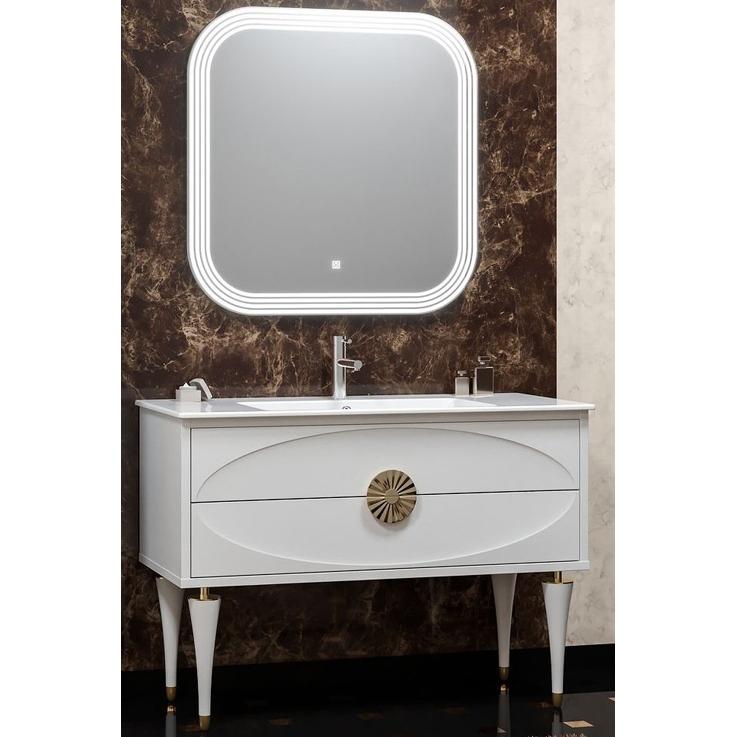 Комплект мебели для ванной Smile Ибица 120 Белый глянцевый/Золото мебель для ванной эстет dallas luxe r 120 напольный два ящика белый