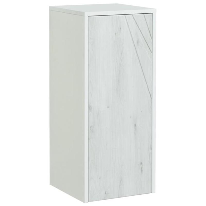 Подвесной шкаф Акватон Сакура 33 1A220703SKW80 с бельевой корзиной Ольха наварра Белый глянец