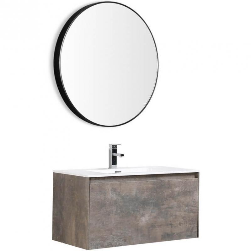 цена Комплект мебели для ванной Black&White Universe U905.0800 подвесной Пепельный онлайн в 2017 году