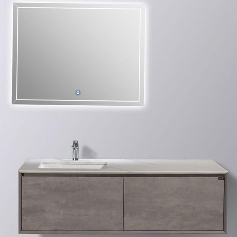 цена Комплект мебели для ванной Black&White Universe U909.1500 подвесной Пепельный онлайн в 2017 году