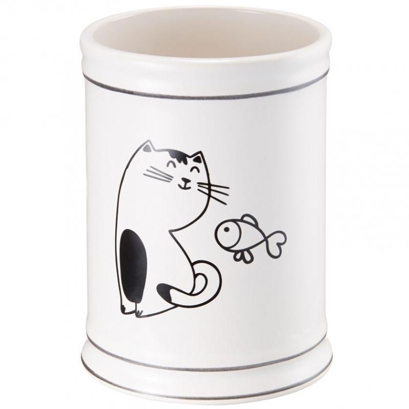 Стакан для зубных щеток Fora Happy Cats FOR-HC044 Черно-белый стакан для зубных щеток tatkraft funny cats