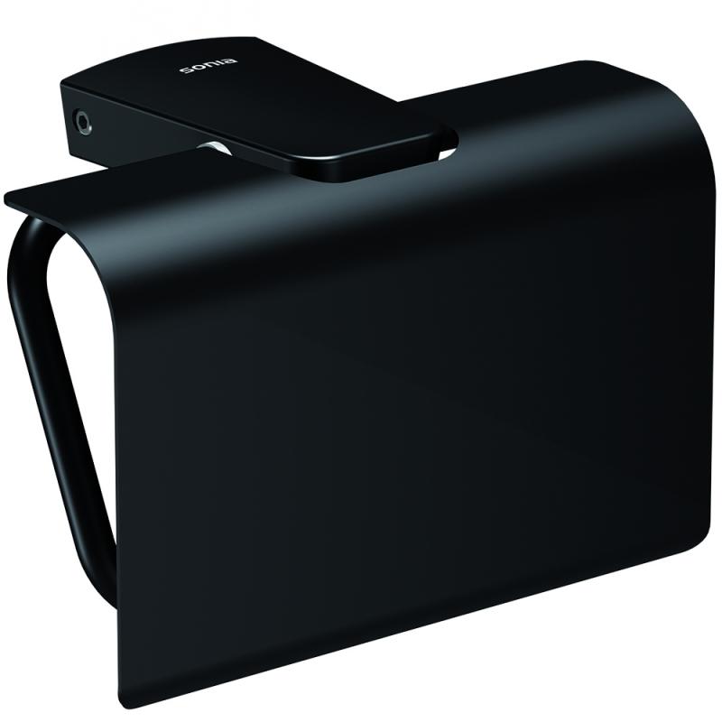 Фото - Держатель туалетной бумаги Sonia S6 black 166473 с крышкой Черный матовый держатель для кашпо emsa крепление балконное на поручень черный