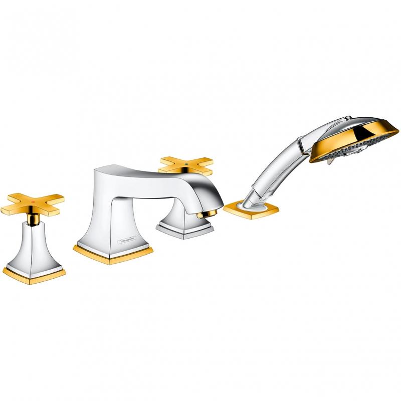 Смеситель на борт ванны Hansgrohe Metropol Classic 31449090 Хром Золото смеситель для ванны и душа hansgrohe metropol 74540000 хром